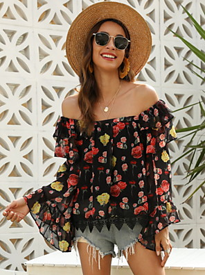 cheap Women's Blouses & Shirts-Women's Blouse Floral Tops Off Shoulder Black / Long Sleeve