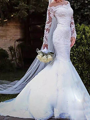 cheap Wedding Dresses-Mermaid / Trumpet Wedding Dresses Off Shoulder Sweep / Brush Train Lace Tulle Long Sleeve Country Plus Size with Lace Embroidery 2020