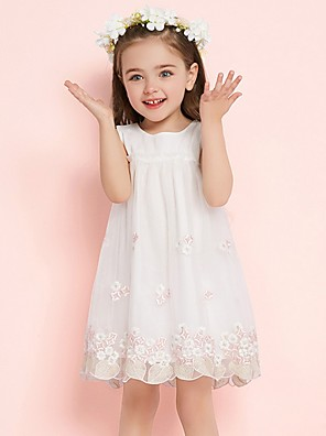 cheap Flower Girl Dresses-Kids Girls' Floral Dress White