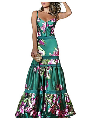 cheap Evening Dresses-Mermaid / Trumpet Floral Boho Prom Formal Evening Dress Sweetheart Neckline Sleeveless Floor Length Satin with Pattern / Print 2020
