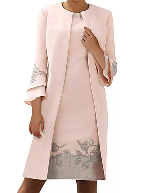 cheap Mother of the Bride Dresses-Sheath / Column Mother of the Bride Dress Elegant Jewel Neck Knee Length Satin Long Sleeve with Embroidery 2020