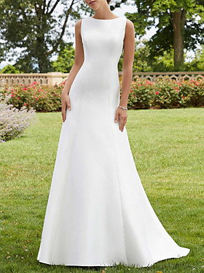 cheap Evening Dresses-A-Line Wedding Dresses Jewel Neck Court Train Lace Satin Sleeveless Simple Sexy with 2020