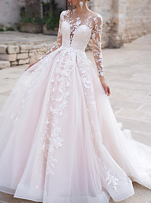 cheap Wedding Dresses-Ball Gown A-Line Wedding Dresses Jewel Neck Sweep / Brush Train Lace Tulle Long Sleeve Formal Sexy See-Through with Embroidery Appliques 2020