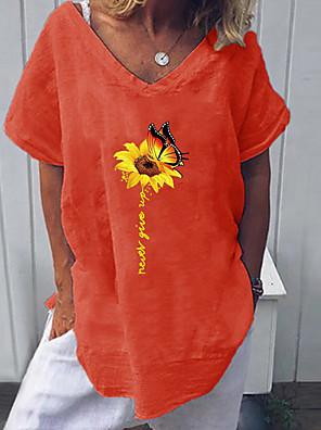 cheap Women's Blouses & Shirts-Women's Blouse Geometric Tops V Neck White Red Yellow / Short Sleeve
