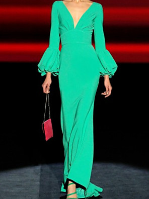 cheap Prom Dresses-Mermaid / Trumpet Beautiful Back Green Engagement Formal Evening Dress V Neck Long Sleeve Floor Length Chiffon with Pleats 2020