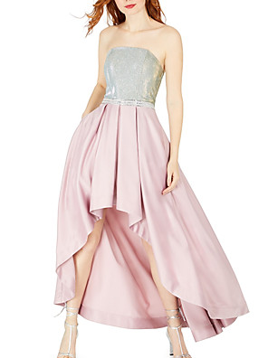 cheap Cocktail Dresses-A-Line Color Block Pink Party Wear Cocktail Party Dress Strapless Sleeveless Asymmetrical Satin with Pleats Sequin 2020