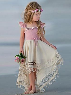 cheap Evening Dresses-Kids Girls' Color Block Dress Blushing Pink