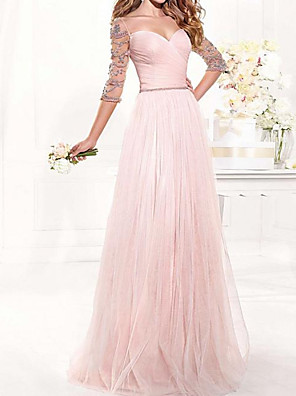 cheap Evening Dresses-A-Line Elegant Beautiful Back Engagement Formal Evening Dress Sweetheart Neckline 3/4 Length Sleeve Floor Length Tulle with Pleats Crystals 2020 / Illusion Sleeve