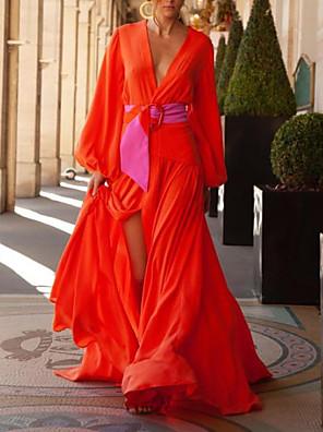 cheap Evening Dresses-Women's Maxi Sheath Dress - Short Sleeves Solid Color Summer V Neck Elegant Slim 2020 Red M L XL XXL XXXL