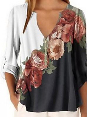 cheap Women's Blouses & Shirts-Women's Blouse Floral V Neck Tops Loose Wine White Purple