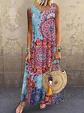 cheap Maxi Dresses-Women's A-Line Dress Dress - Sleeveless Print Summer Street chic 2020 Light Blue S M L XL XXL XXXL XXXXL XXXXXL