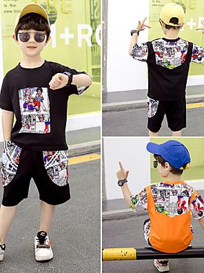 cheap Boys' Clothing Sets-Kids Toddler Boys' Active Daily Wear Outdoor Black Cartoon Print Short Sleeve Regular Regular Clothing Set Black