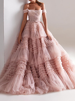 cheap Prom Dresses-Ball Gown Wedding Dresses Off Shoulder Sweep / Brush Train Tulle Short Sleeve Formal Wedding Dress in Color with Ruched Cascading Ruffles 2020
