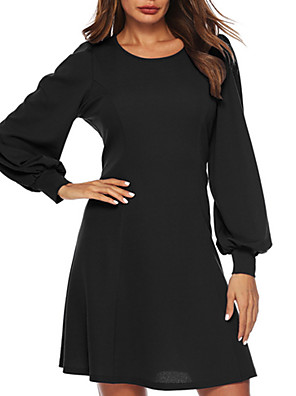 cheap Women's Dresses-Women's A Line Dress - Long Sleeve Solid Color Summer Work 2020 Wine Black S M L XL XXL