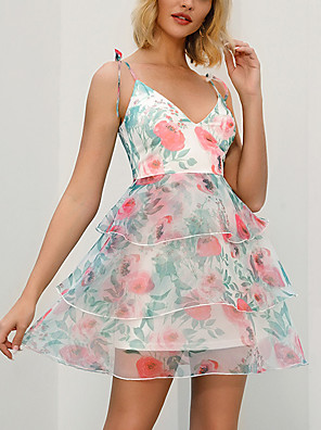 cheap Print Dresses-Women's A Line Dress - Sleeveless Floral Layered Ruffle Summer Strap V Neck Casual Elegant Going out Beach 2020 Blushing Pink Light Green S M L