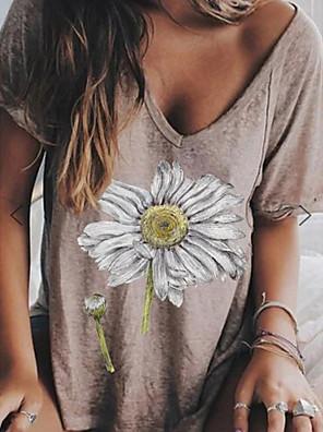 cheap Women's T-shirts-Women's T-shirt Floral Tops V Neck Gray / Short Sleeve