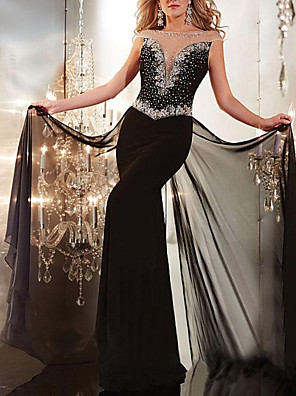 cheap Evening Dresses-Sheath / Column Sparkle Black Engagement Formal Evening Dress Illusion Neck Short Sleeve Floor Length Chiffon with Beading 2020
