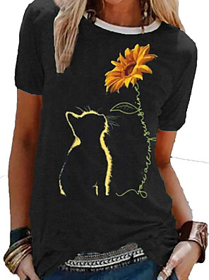 cheap Women's T-shirts-Women's Floral Daisy T-shirt Daily Wine / Black / Blue / Green