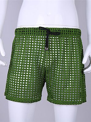 cheap Men's Exotic Underwear-Men's Mesh Boxers Underwear - Normal Low Waist Yellow Red Green S M L