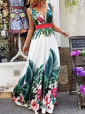 cheap Special Occasion Dresses-Sheath / Column Floral Maxi Holiday Prom Dress V Neck Sleeveless Floor Length Stretch Satin with Pattern / Print 2020