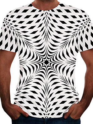 cheap Men's Tees & Tank Tops-Men's Graphic 3D Print Black & White T-shirt Basic Elegant Daily Going out Gray