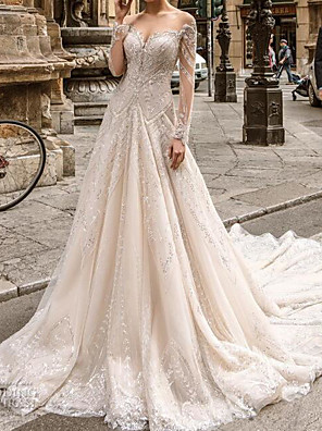 cheap Prom Dresses-A-Line Wedding Dresses Jewel Neck Sweep / Brush Train Lace Tulle Long Sleeve Formal Sexy See-Through with Embroidery 2020