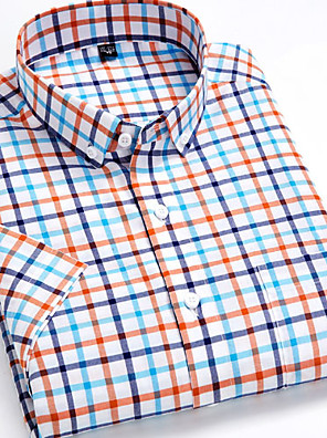 cheap Men's Shirts-Men's Plaid Print Shirt - Cotton Daily Button Down Collar Rainbow / Short Sleeve