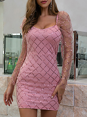 cheap Party Dresses-Women's Bodycon - Long Sleeve Print Zipper Summer Glitters Mumu Daily Going out Flare Cuff Sleeve 2020 Blushing Pink Beige S M L