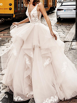 cheap Bridesmaid Dresses-Ball Gown Wedding Dresses V Neck Floor Length Lace Tulle Sleeveless Formal Sexy See-Through with Embroidery Cascading Ruffles 2020