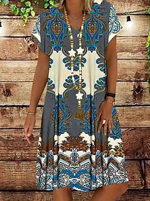 cheap Summer Dresses-Women's Shift Dress - Short Sleeves Floral Summer Elegant 2020 Red Yellow Khaki Green Gray S M L XL XXL XXXL XXXXL XXXXXL