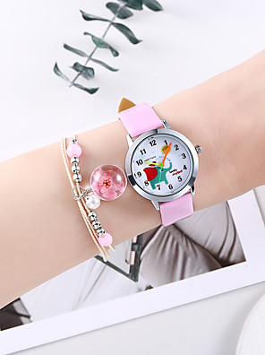cheap Kids' Watches-Girls' Quartz Watches Quartz Animal Pattern Cartoon Chronograph PU Leather White / Pink Analog - White Blushing Pink One Year Battery Life