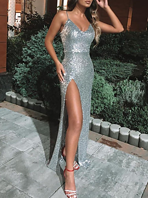 cheap Evening Dresses-Sheath / Column Sexy Sparkle Engagement Formal Evening Dress Spaghetti Strap Sleeveless Floor Length Sequined with Sequin Split 2020