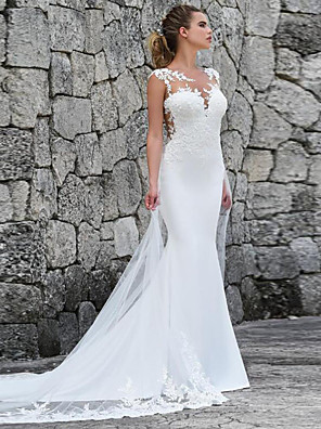 cheap Wedding Dresses-Mermaid / Trumpet Wedding Dresses Off Shoulder Court Train Lace Satin Tulle Sleeveless Sexy See-Through with Appliques 2020