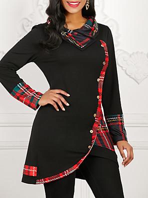 tanie Topy damskie-Damskie Codzienny T-shirt Geometric Shape Nadruk Długi rękaw Najfatalniejszy Bawełna Czarny