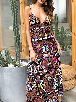 cheap Women's Dresses-Women's Maxi A Line Dress - Sleeveless Floral Summer Strap Elegant 2020 Brown M L XL XXL
