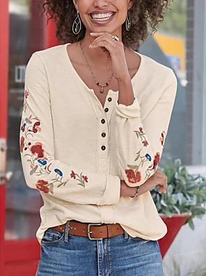 cheap Women's T-shirts-Women's T-shirt Floral Tops V Neck White Blue Yellow / Long Sleeve