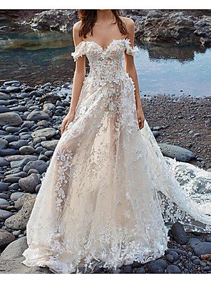 cheap Wedding Dresses-A-Line Wedding Dresses Off Shoulder Court Train Lace Tulle Sleeveless Beach Sexy See-Through with Embroidery Appliques 2020