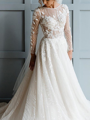 cheap Prom Dresses-A-Line Wedding Dresses Jewel Neck Sweep / Brush Train Lace Tulle Long Sleeve Country Sexy See-Through with Embroidery Appliques 2020