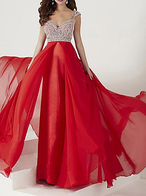 cheap Prom Dresses-A-Line Beautiful Back Sparkle Engagement Formal Evening Dress V Neck Sleeveless Floor Length Chiffon with Pleats Crystals 2020