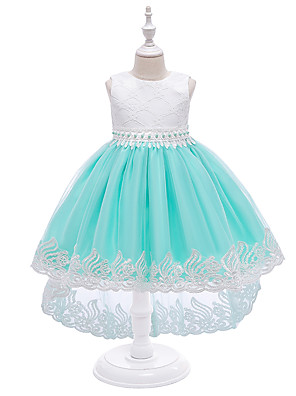 cheap Girls' Dresses-Kids Girls' Cute Blue & White Solid Colored Embroidered Mesh Print Sleeveless Knee-length Dress White