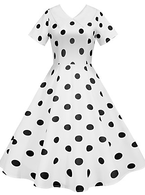 cheap Women's Dresses-Women's Swing Dress Midi Dress - Short Sleeves Polka Dot Summer Fall Vintage 2020 White Black Blue Red Yellow Blushing Pink S M L XL XXL