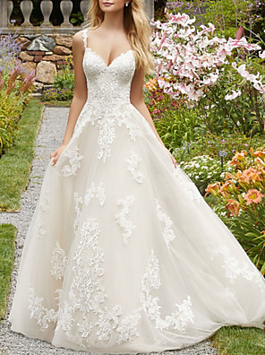 cheap Wedding Dresses-A-Line Wedding Dresses V Neck Spaghetti Strap Sweep / Brush Train Lace Tulle Sleeveless Country with Embroidery 2020