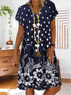 cheap Summer Dresses-Women's Shift Dress - Short Sleeves Floral Summer Elegant 2020 Red Navy Blue Gray Light Blue S M L XL XXL XXXL XXXXL XXXXXL