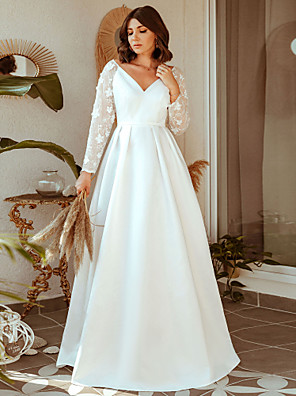 cheap Evening Dresses-A-Line Elegant Prom Formal Evening Dress V Neck Long Sleeve Floor Length Lace with 2020
