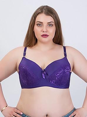 cheap Bras-Women's Lace Bras Underwire Bra Full Coverage Bra Blue Purple Blushing Pink