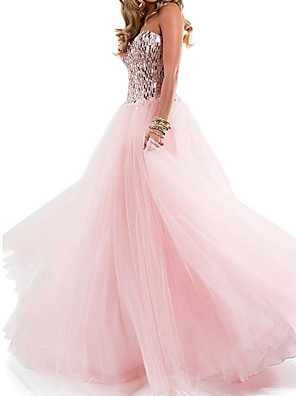 cheap Prom Dresses-A-Line Sparkle Engagement Formal Evening Dress Strapless Sleeveless Floor Length Chiffon with Pleats Sequin 2020