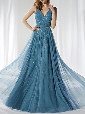 cheap Prom Dresses-A-Line Elegant Sparkle Prom Formal Evening Dress V Neck Sleeveless Floor Length Tulle Sequined with Sash / Ribbon Sequin 2020