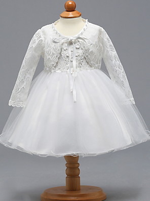 cheap Christening Gowns-Two Piece Knee Length Birthday / Event / Party Christening Gowns - Lace / Tulle Long Sleeve V Neck with Bow(s)