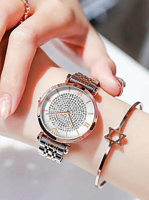 cheap Quartz Watches-Women's Steel Band Watches Quartz Luxury Water Resistant / Waterproof Stainless Steel Analog - Rose Gold White+Golden Silver One Year Battery Life