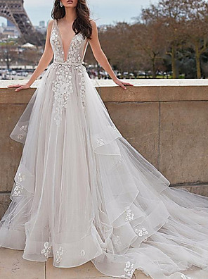 cheap Wedding Dresses-A-Line Wedding Dresses Plunging Neck Court Train Organza Tulle Sleeveless Beach Sexy See-Through with Sashes / Ribbons Appliques Cascading Ruffles 2020